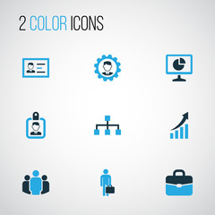 Job Colorful Icons Set. Collection Of Team, Businessman, Growing Chart And Other Elements. Also Includes Symbols Such As Hierarchy, Id, Cogwheel.