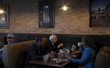 U.S. Democratic presidential candidate Bernie Sanders stops for coffee at a restaurant in Elko