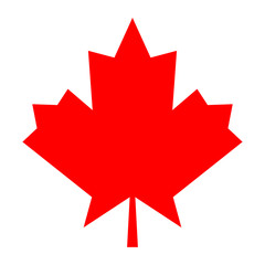 Red color maple leaf icon.