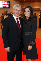 Aer Arann founder Padraig O Ceidigh and his daughter Emer Ni Cheidigh, CEO and Editor or Foinse pose at the Convention Centre during the visit of Queen Elizabeth in Dublin