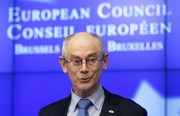 European Council President Van Rompuy addresses a news conference after an EU leaders summit in Brussels