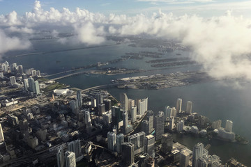 Downtown Miami is pictured in this aerial photo as clouds begin to form in advance of Hurricane Matthew in Miami