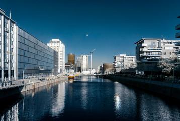 Modern buildings in Strasbourg, infrared view