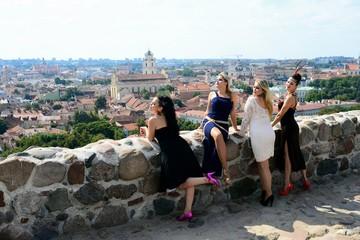 Beautiful girls in Vilnius town Gediminas castle hill