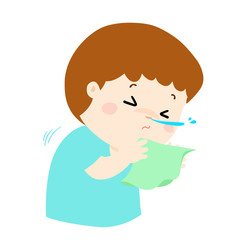 Little boy sneezing cartoon vector.