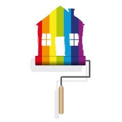 maison - décoration - peinture - déco - bricolage - arc en ciel - rouleau de peinture