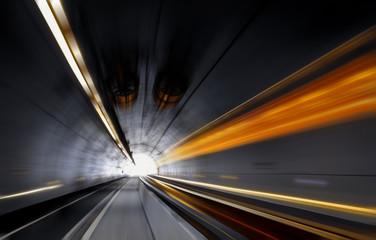 Traffic speeding through a modern tunnel. Speed concept. Fotomurales