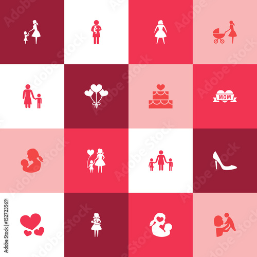 Mothers Day Icon Design Concept Set Of 16 Such Elements As Stiletto