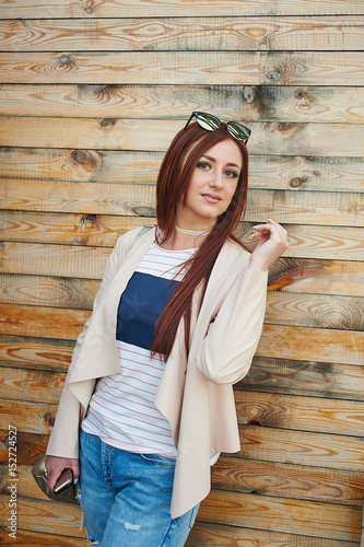 Sandy video redhead strips out of jean jacket women playing with