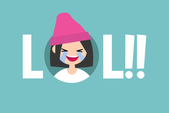 LOL conceptual illustrated sign. laughing out loud teenage girl / editable vector flat illustration