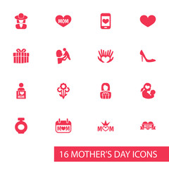 Mothers Day Icon Design Concept. Set Of 16 Such Elements As Kid, Palms And Soul. Beautiful Symbols For I, Woman And Day.