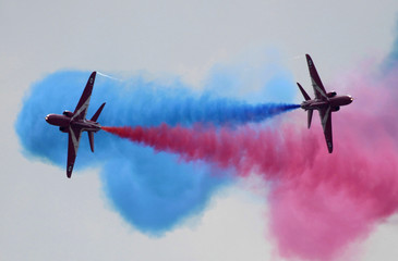 The Royal Air Force aerobatic team, The Red Arrows, performs during an air show at Zhukovsk