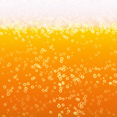 Close Up Light Beer With Foam And Bubbles. Vector Background. Fresh Beverage Beer Illustration