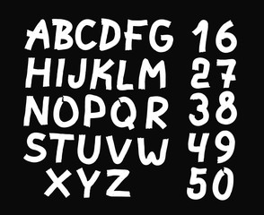 and drawn letters and numbers font. bold comic modern marker lettering. Grunge font, Sans serif. Vector design. Isolated on black background. alphabet written with ink, brush. calligraphy, black