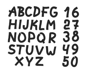Hand drawn letters and numbers font. bold comic modern marker lettering. Grunge font, Sans serif. Vector design. Isolated on white background. alphabet written with ink, brush. calligraphy, black