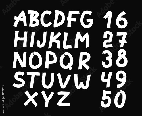 and drawn letters and numbers font  bold comic modern marker