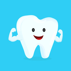 Strong happy healthy white tooth character. Vector flat cartoon illustration icon design. Isolated on blue backgound