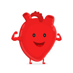Strong healthy happy heart character. Vector flat cartoon illustration icon design. Isolated on white backgound