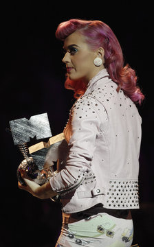 U.S. singer Katy Perry prepares to present the awards for Global Icon to Queen at the MTV Europe Music Awards show in Belfast