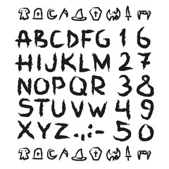 Spooky Hand drawn horror, scary letters and numbers font. marker. Grunge font, Sans serif. Vector design. Isolated on white background. alphabet written with ink, brush. calligraphy, lettering
