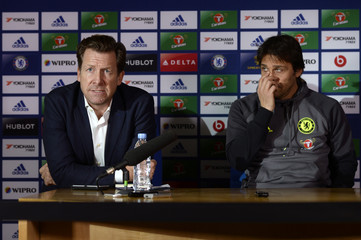Chelsea manager Antonio Conte and Director of Communications Steve Atkins during the Press Conference