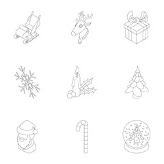 December holiday icons set, outline style