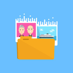 Pictures Folder icon. Vector flat illustration design. Collect photo, media files