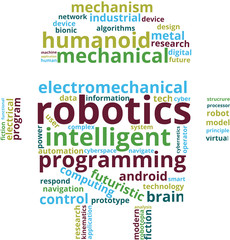 Robotics Word Cloud Text Illustration. Robot shaped Robotics related  tags isolated vector. Transparent.