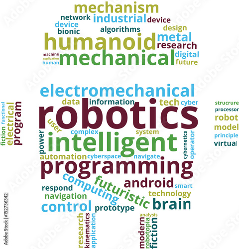 Robotics Word Cloud Text Illustration Robot Shaped Robotics Related