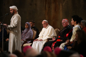 Pope Francis looks on during a multi-religious prayer for peace at the 9/11 Memorial and Museum in New York