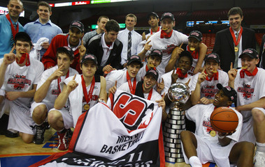 Carleton Ravens pose with their gold medals and the W.P. McGee trophy  in Halifax