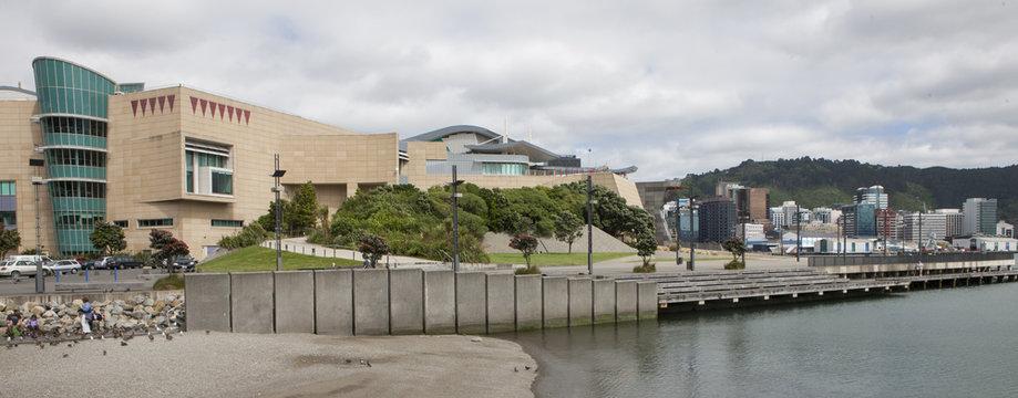 Te papa museum and waterfront Wellington New Zealand. Architecture. Panorama