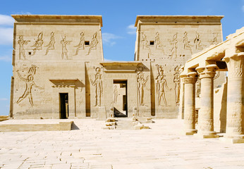 Philae Temple of Isis on Agilkia Island in Lake Nasser, Aswan, Egypt, North Africa.