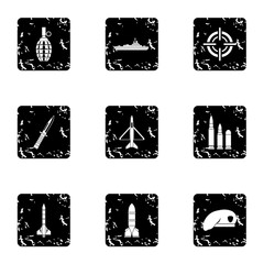 Military weapons icons set, grunge style