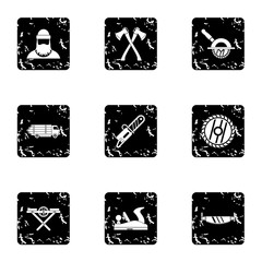 Cleaver icons set, grunge style
