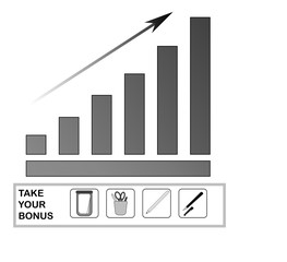 A digital diagram demonstrating the growth of business performance. Growth is emphasized by an upward arrow. The diagram is executed in a restrained color scheme. As a gift you get a set of four icons