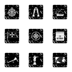 Columbus Day icons set, grunge style