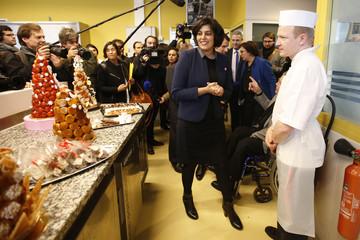 French Labour Minister Myriam el Khomri visits a pastry school at the Campus des Metiers et de l'Entreprise in Bobigny