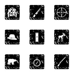 Hunting icons set, grunge style