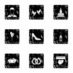 Wedding icons set, grunge style