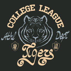Tiger style tee graphic. Sport typography emblem, t-shirt stamp graphics, athletic apparel design