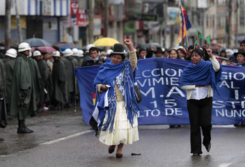 Members of Bolivia's President Evo Morales party MAS participate in the celebration for the 27th anniversary of the founding of El Alto