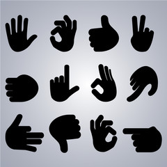 Set of hand gestures on grey background