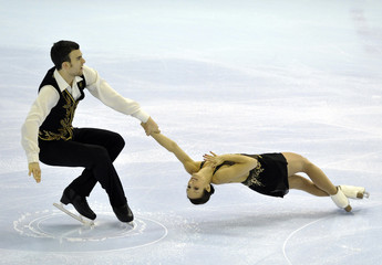 Meagan Duhamel and Eric Radford skate during the Senior Pair short program at the Canadian Figure Skating Championships in Moncton