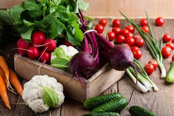 Food composition of fresh organic vegetables variety