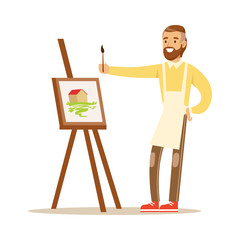Man artist holding palette and brush standing near easel. Craft hobby and profession colorful character vector Illustration
