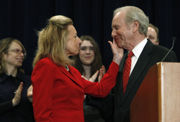 U.S. Senator from Connecticut Joe Lieberman and wife Hadassa at news conference in Stamford