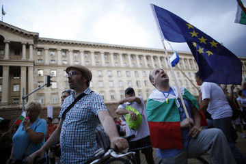 Protesters participate in a demonstration in central Sofia