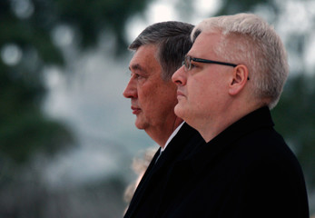 Croatia's President Josipovic listens to national anthems with head of Bosnia's tripartite presidency Radmanovic during their meeting in Zagreb