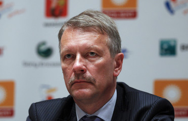 Polsat CEO Blaszczyk speaks during news conference in Warsaw